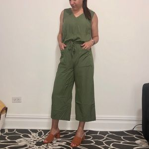 Jumpsuit Cropped Wide Leg with Drawstring Waist